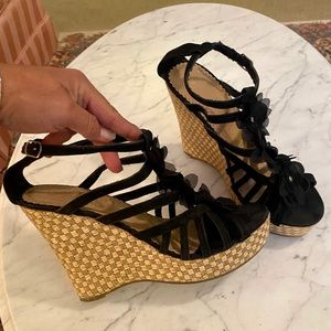 ANNA Black Flower Woven Wedge Strappy Sandal Heels